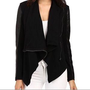 Blank NYC Black Faux Leather Draped Moto Jacket